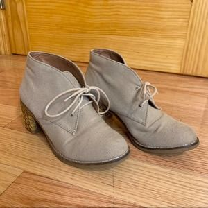 LUCKY BRAND Hale Heeled Ankle Bootie Tan Canvas
